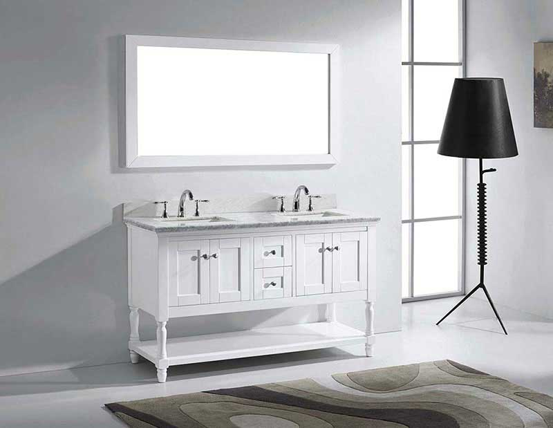 "Virtu USA Julianna 60"" Double Bathroom Vanity in White with Marble Top and Square Sink with Brushed Nickel Faucet and Mirror 4"