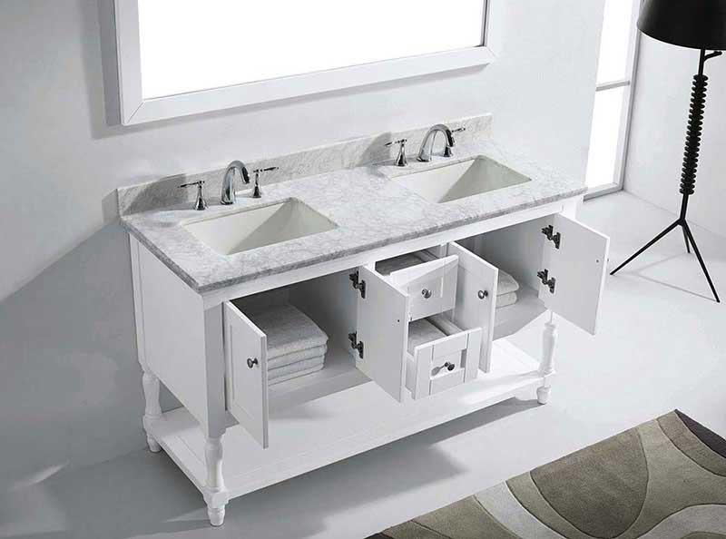 "Virtu USA Julianna 60"" Double Bathroom Vanity in White with Marble Top and Square Sink with Brushed Nickel Faucet and Mirror 5"