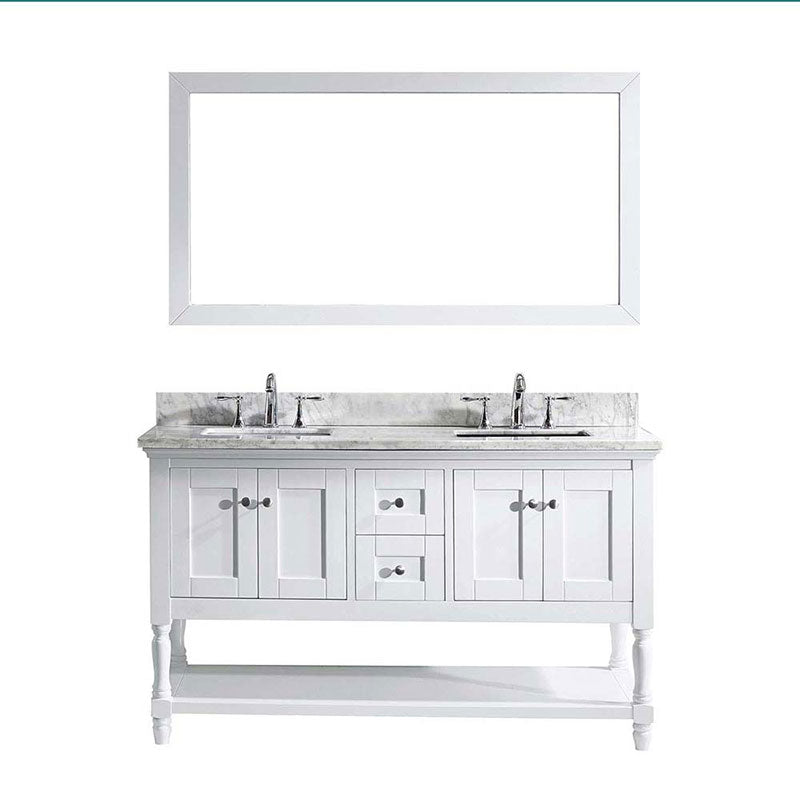 "Virtu USA Julianna 60"" Double Bathroom Vanity in White with Marble Top and Square Sink with Brushed Nickel Faucet and Mirror"
