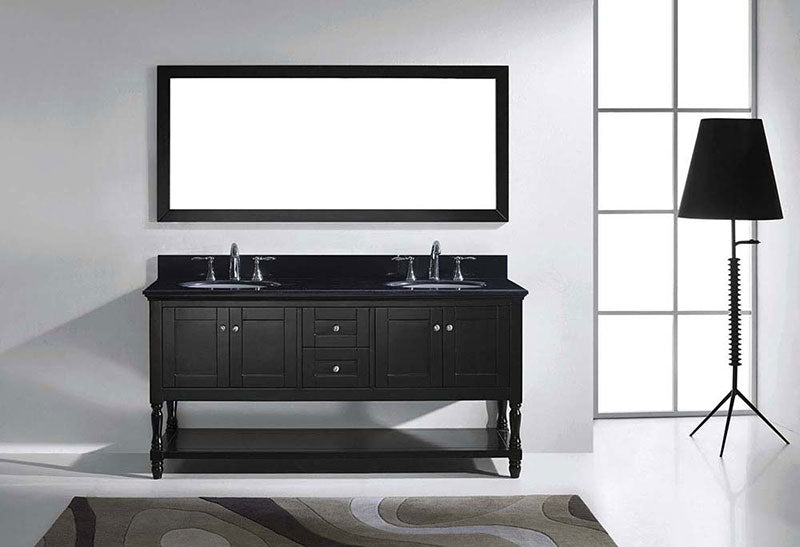 "Virtu USA Julianna 72"" Double Bathroom Vanity in Espresso with Black Galaxy Granite Top and Round Sink with Brushed Nickel Faucet and Mirror 3"