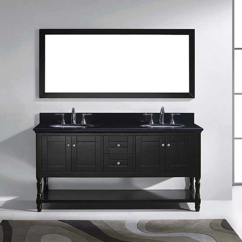 "Virtu USA Julianna 72"" Double Bathroom Vanity in Espresso with Black Galaxy Granite Top and Round Sink with Brushed Nickel Faucet and Mirror 2"