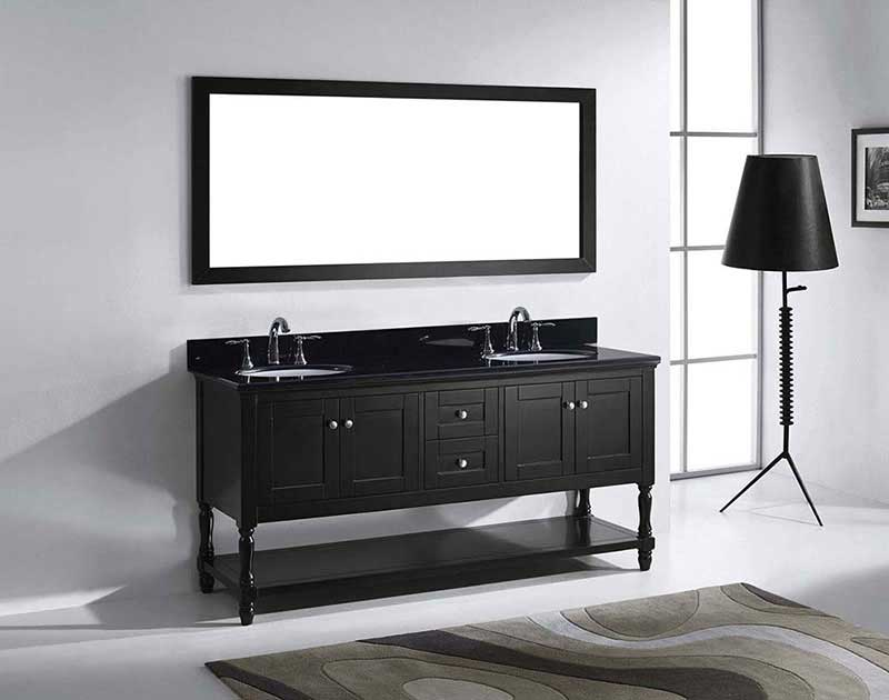 "Virtu USA Julianna 72"" Double Bathroom Vanity in Espresso with Black Galaxy Granite Top and Round Sink with Brushed Nickel Faucet and Mirror 4"