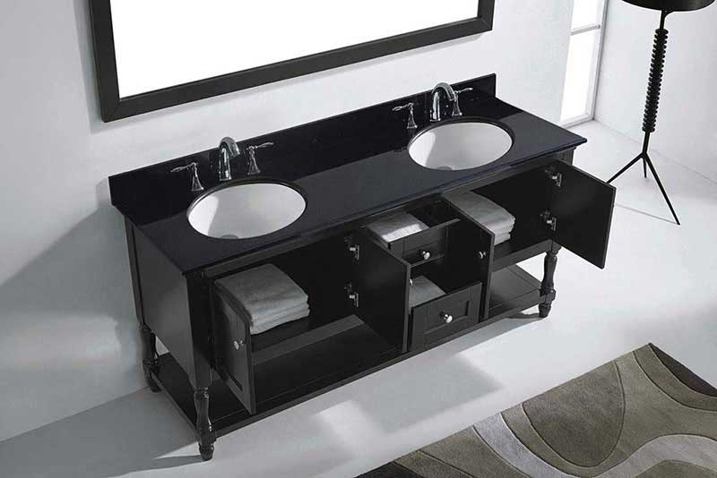 "Virtu USA Julianna 72"" Double Bathroom Vanity in Espresso with Black Galaxy Granite Top and Round Sink with Brushed Nickel Faucet and Mirror 5"