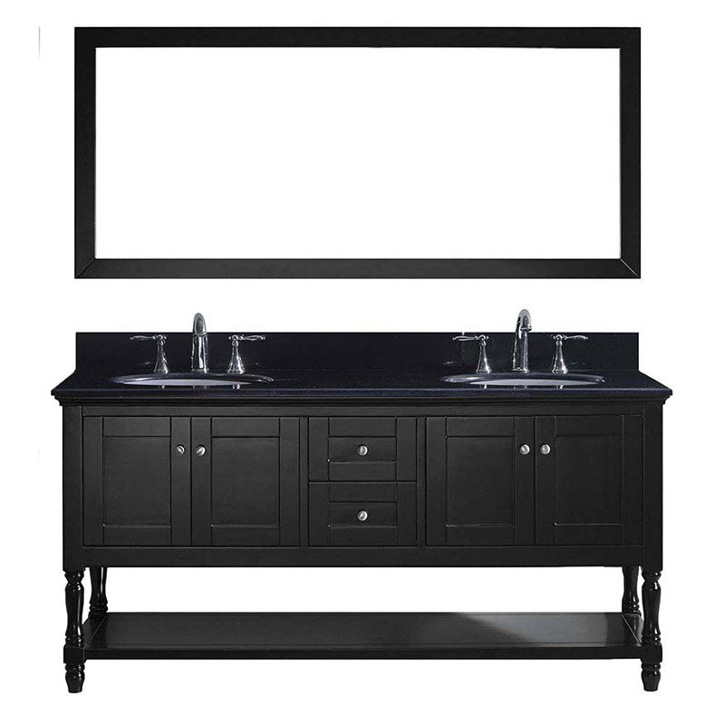 "Virtu USA Julianna 72"" Double Bathroom Vanity in Espresso with Black Galaxy Granite Top and Round Sink with Brushed Nickel Faucet and Mirror"