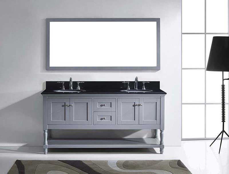 "Virtu USA Julianna 72"" Double Bathroom Vanity in Grey with Black Galaxy Granite Top and Round Sink with Mirror 3"