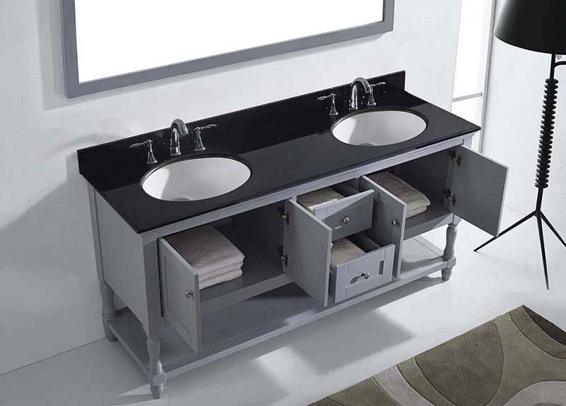 "Virtu USA Julianna 72"" Double Bathroom Vanity in Grey with Black Galaxy Granite Top and Round Sink with Mirror 5"