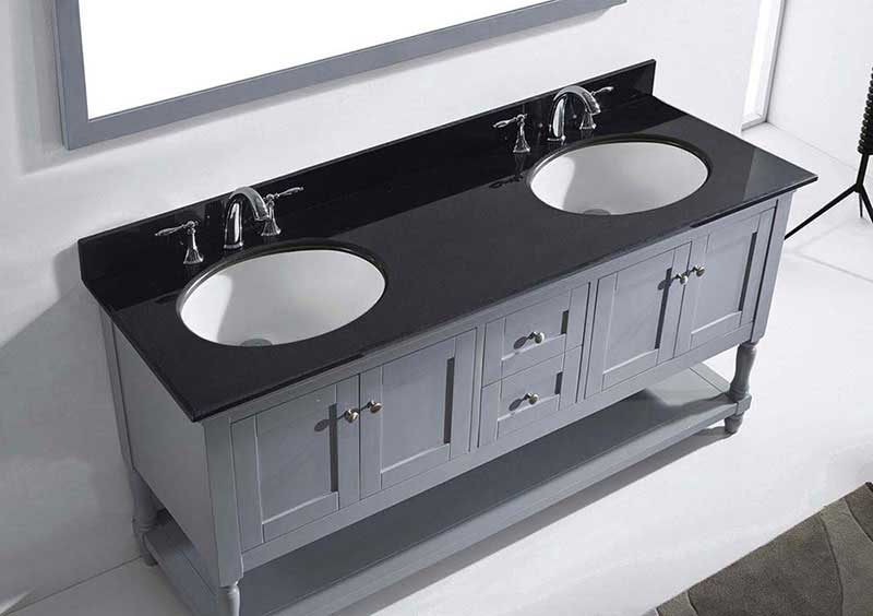 "Virtu USA Julianna 72"" Double Bathroom Vanity in Grey with Black Galaxy Granite Top and Round Sink with Mirror 6"