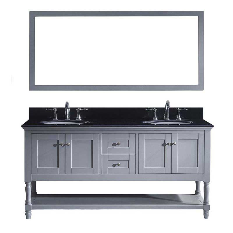 "Virtu USA Julianna 72"" Double Bathroom Vanity in Grey with Black Galaxy Granite Top and Round Sink with Mirror"