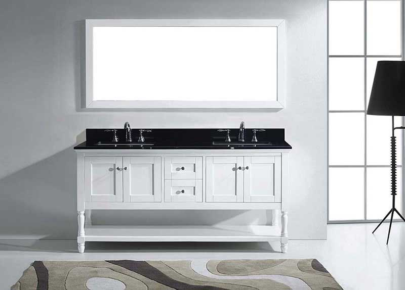 "Virtu USA Julianna 72"" Double Bathroom Vanity in White with Black Galaxy Granite Top and Square Sink with Polished Chrome Faucet and Mirror 3"