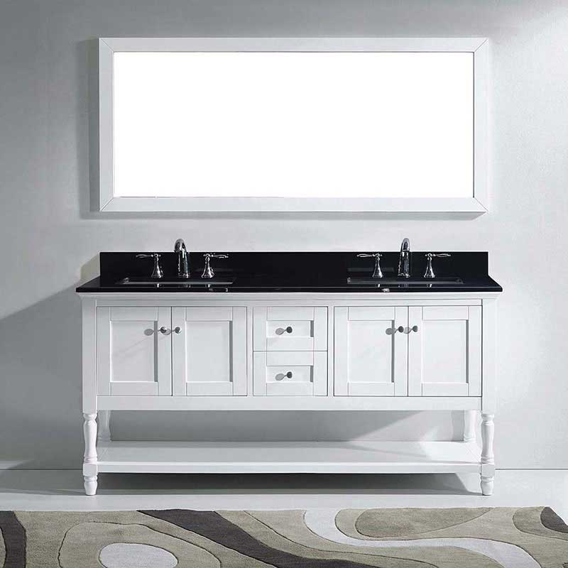 "Virtu USA Julianna 72"" Double Bathroom Vanity in White with Black Galaxy Granite Top and Square Sink with Polished Chrome Faucet and Mirror 2"