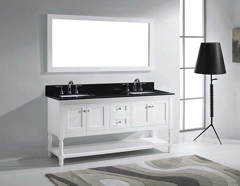 "Virtu USA Julianna 72"" Double Bathroom Vanity in White with Black Galaxy Granite Top and Square Sink with Polished Chrome Faucet and Mirror 4"