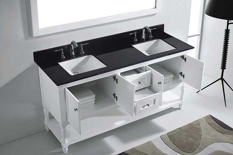 "Virtu USA Julianna 72"" Double Bathroom Vanity in White with Black Galaxy Granite Top and Square Sink with Polished Chrome Faucet and Mirror 5"