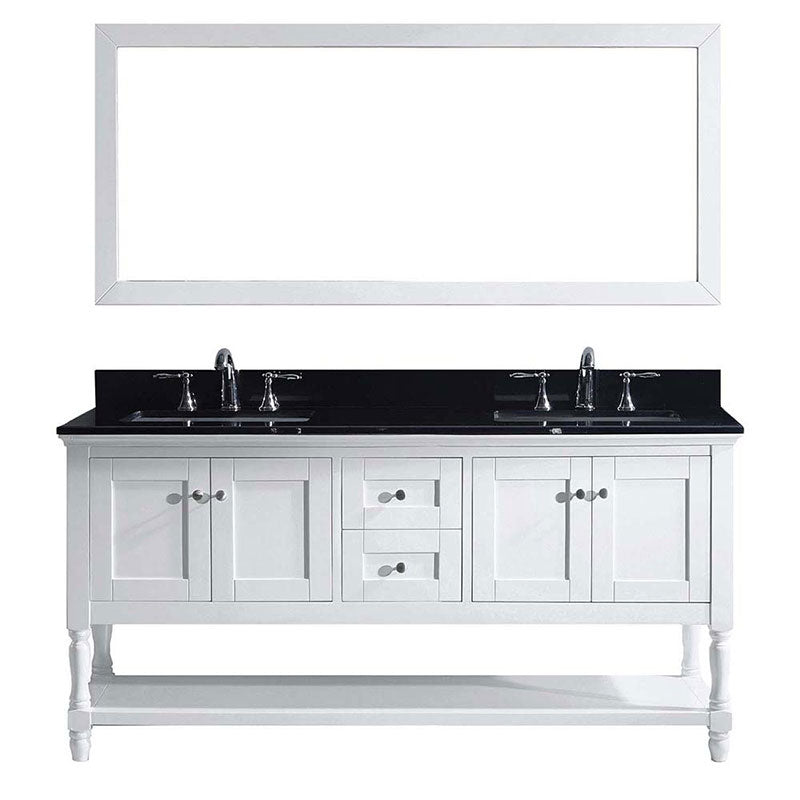 "Virtu USA Julianna 72"" Double Bathroom Vanity in White with Black Galaxy Granite Top and Square Sink with Polished Chrome Faucet and Mirror"