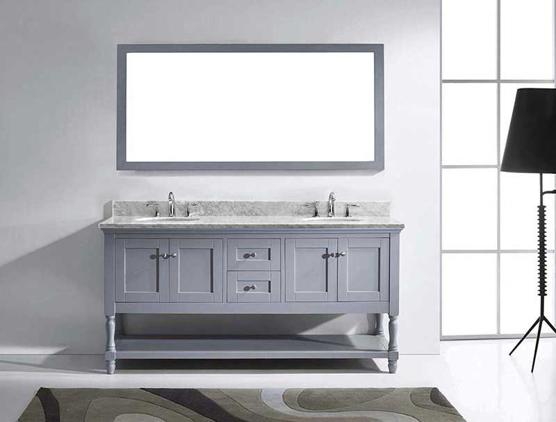 "Virtu USA Julianna 72"" Double Bathroom Vanity in Grey with Marble Top and Round Sink with Polished Chrome Faucet and Mirror 3"