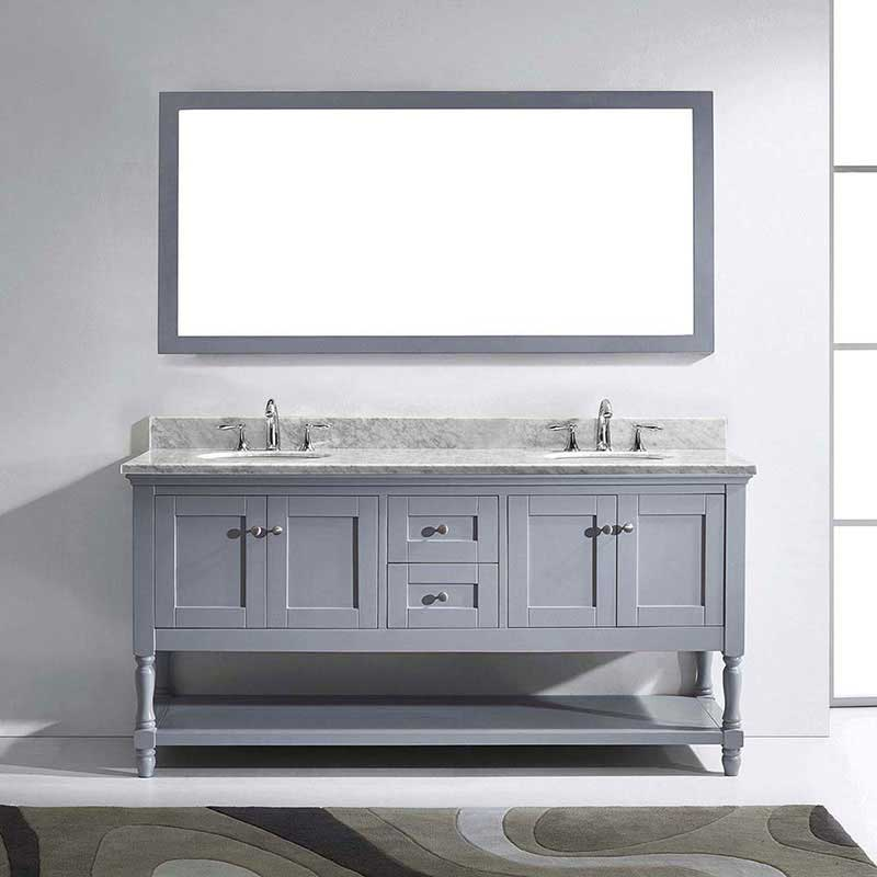 "Virtu USA Julianna 72"" Double Bathroom Vanity in Grey with Marble Top and Round Sink with Polished Chrome Faucet and Mirror 2"