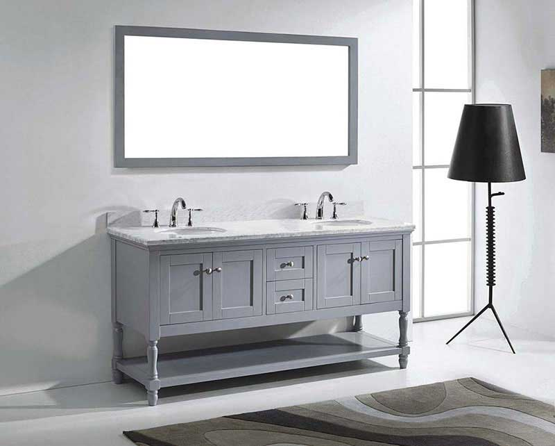 "Virtu USA Julianna 72"" Double Bathroom Vanity in Grey with Marble Top and Round Sink with Polished Chrome Faucet and Mirror 4"