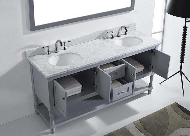 "Virtu USA Julianna 72"" Double Bathroom Vanity in Grey with Marble Top and Round Sink with Polished Chrome Faucet and Mirror 5"