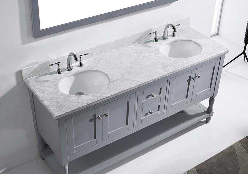 "Virtu USA Julianna 72"" Double Bathroom Vanity in Grey with Marble Top and Round Sink with Polished Chrome Faucet and Mirror 6"
