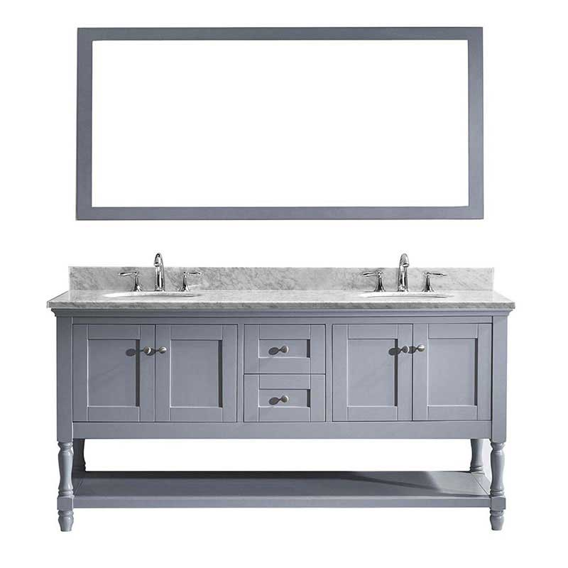 "Virtu USA Julianna 72"" Double Bathroom Vanity in Grey with Marble Top and Round Sink with Polished Chrome Faucet and Mirror"