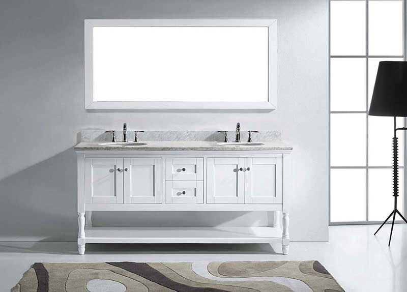 "Virtu USA Julianna 72"" Double Bathroom Vanity in White with Marble Top and Round Sink with Mirror 3"
