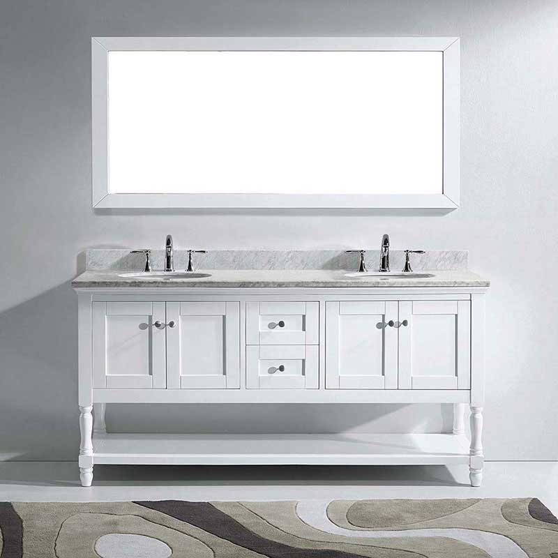 "Virtu USA Julianna 72"" Double Bathroom Vanity in White with Marble Top and Round Sink with Mirror 2"
