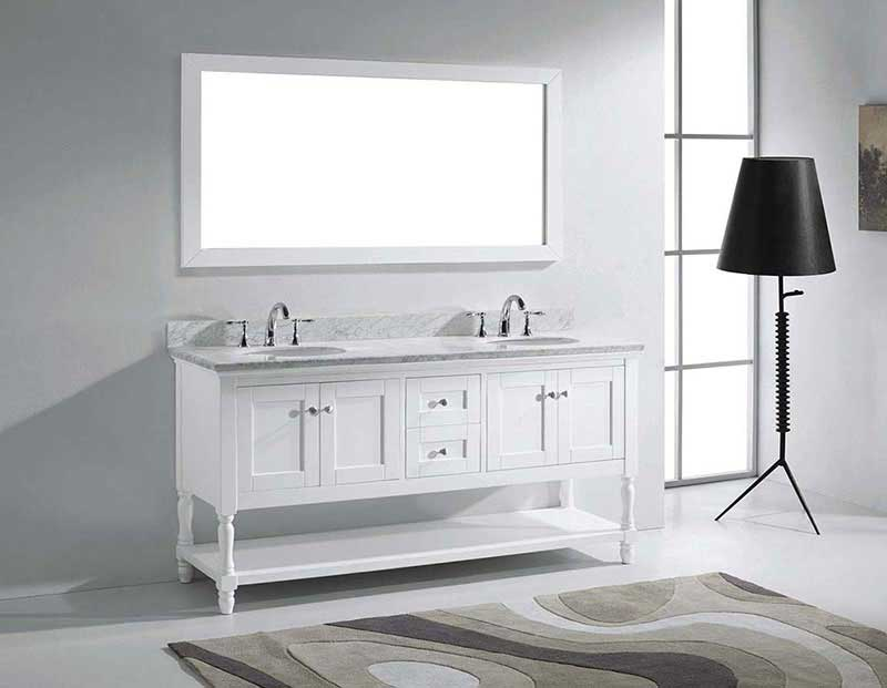 "Virtu USA Julianna 72"" Double Bathroom Vanity in White with Marble Top and Round Sink with Mirror 4"