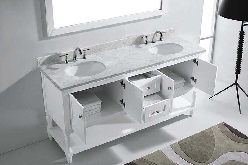 "Virtu USA Julianna 72"" Double Bathroom Vanity in White with Marble Top and Round Sink with Mirror 5"