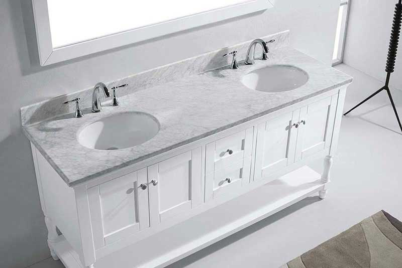 "Virtu USA Julianna 72"" Double Bathroom Vanity in White with Marble Top and Round Sink with Mirror 6"