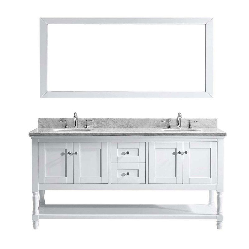 "Virtu USA Julianna 72"" Double Bathroom Vanity in White with Marble Top and Round Sink with Mirror"