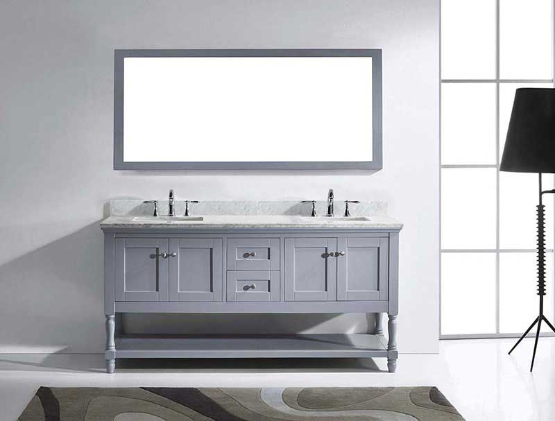 "Virtu USA Julianna 72"" Double Bathroom Vanity in Grey with Marble Top and Square Sink with Brushed Nickel Faucet and Mirror 3"