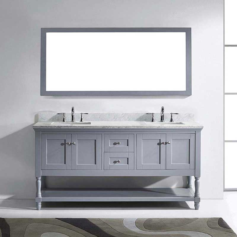 "Virtu USA Julianna 72"" Double Bathroom Vanity in Grey with Marble Top and Square Sink with Brushed Nickel Faucet and Mirror 2"