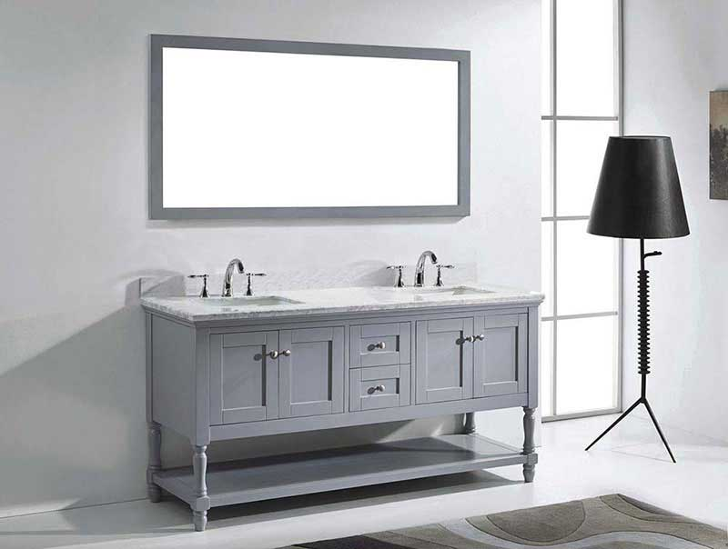 "Virtu USA Julianna 72"" Double Bathroom Vanity in Grey with Marble Top and Square Sink with Mirror 4"