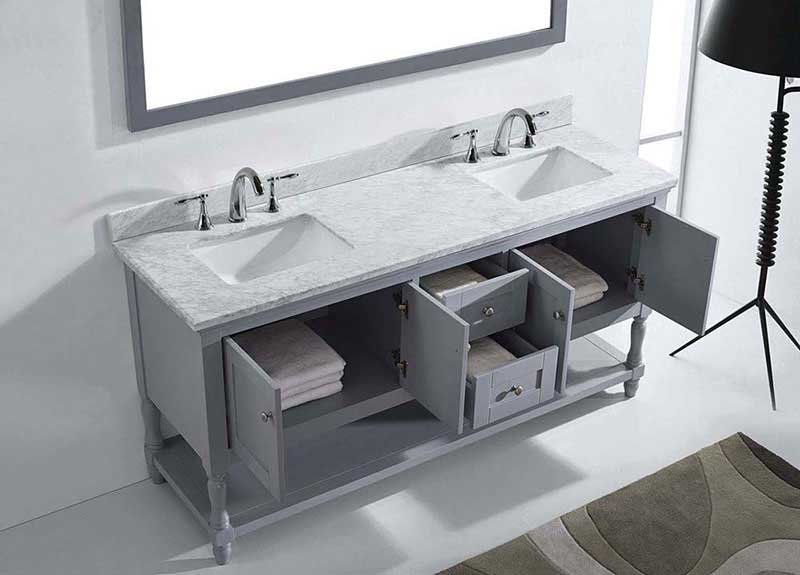 "Virtu USA Julianna 72"" Double Bathroom Vanity in Grey with Marble Top and Square Sink with Brushed Nickel Faucet and Mirror 5"