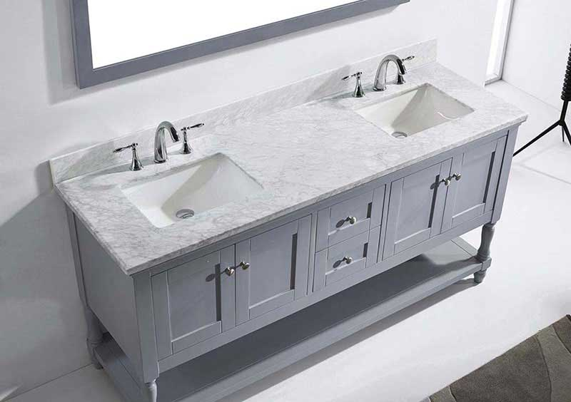 "Virtu USA Julianna 72"" Double Bathroom Vanity in Grey with Marble Top and Square Sink with Mirror 6"