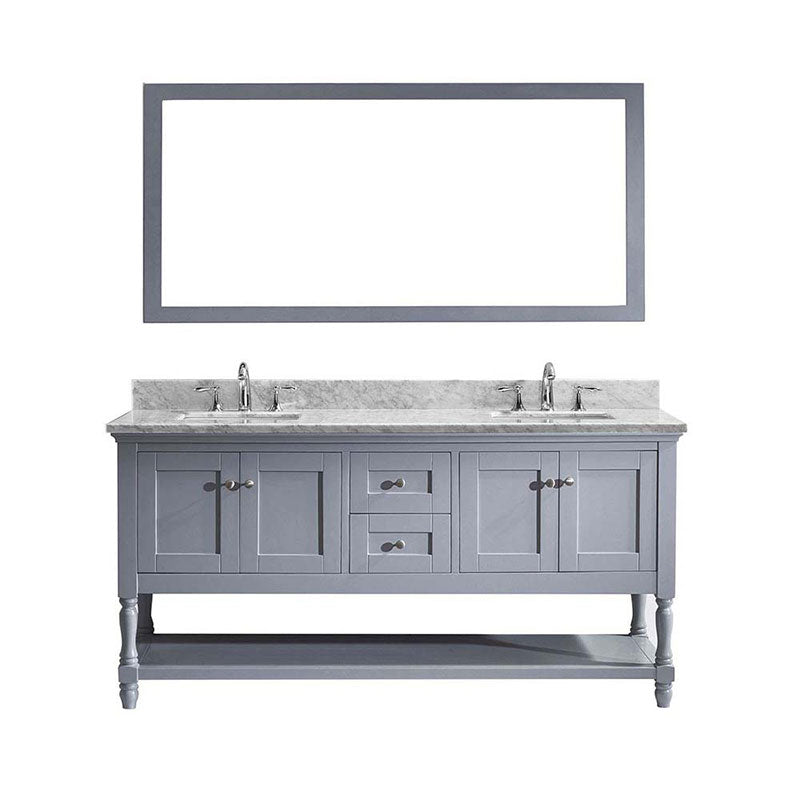 "Virtu USA Julianna 72"" Double Bathroom Vanity in Grey with Marble Top and Square Sink with Brushed Nickel Faucet and Mirror"