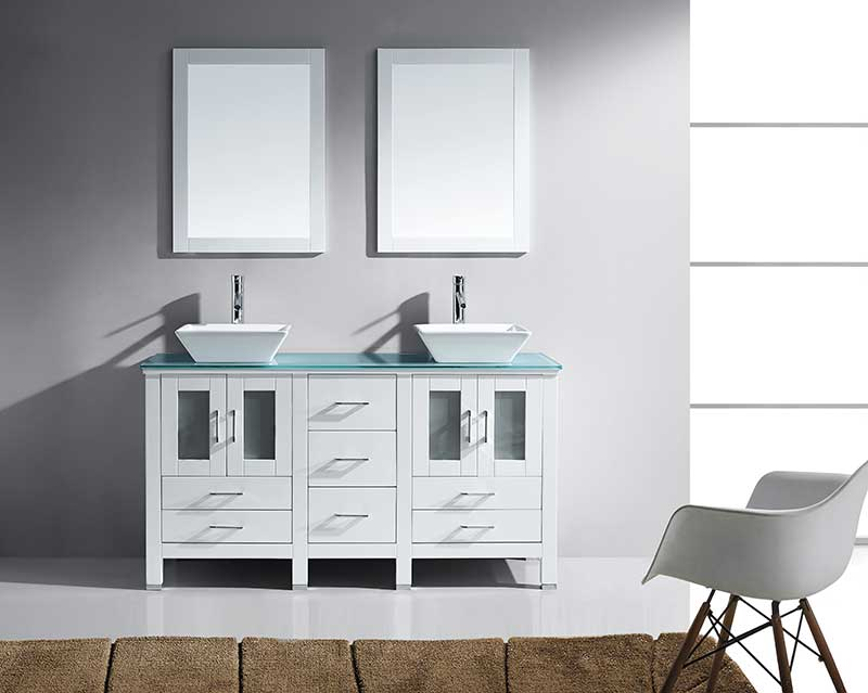 Virtu USA Bradford 60 Double Bathroom Vanity Set in White