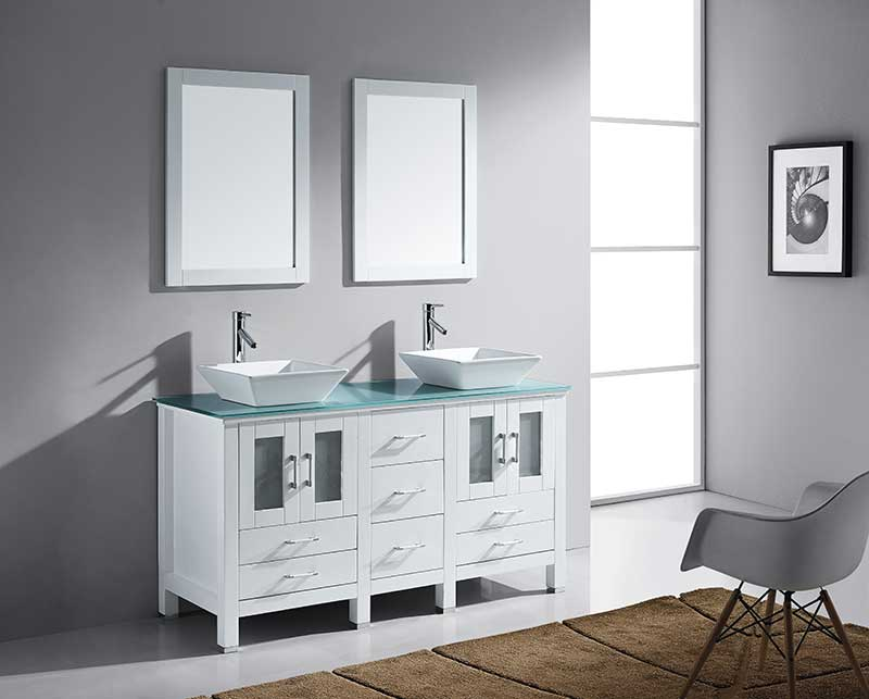 Virtu USA Bradford 60 Double Bathroom Vanity Set in White 3