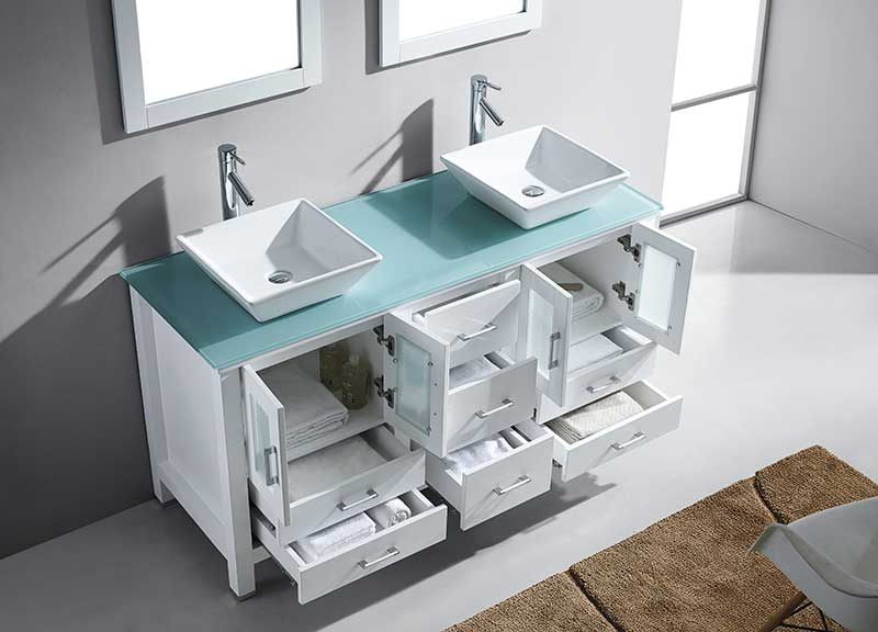 Virtu USA Bradford 60 Double Bathroom Vanity Set in White 4