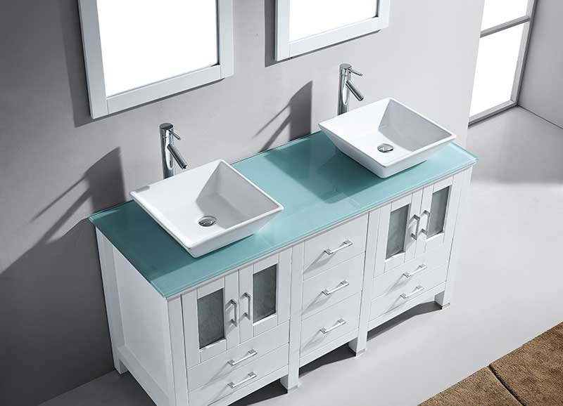 Virtu USA Bradford 60 Double Bathroom Vanity Set in White 2