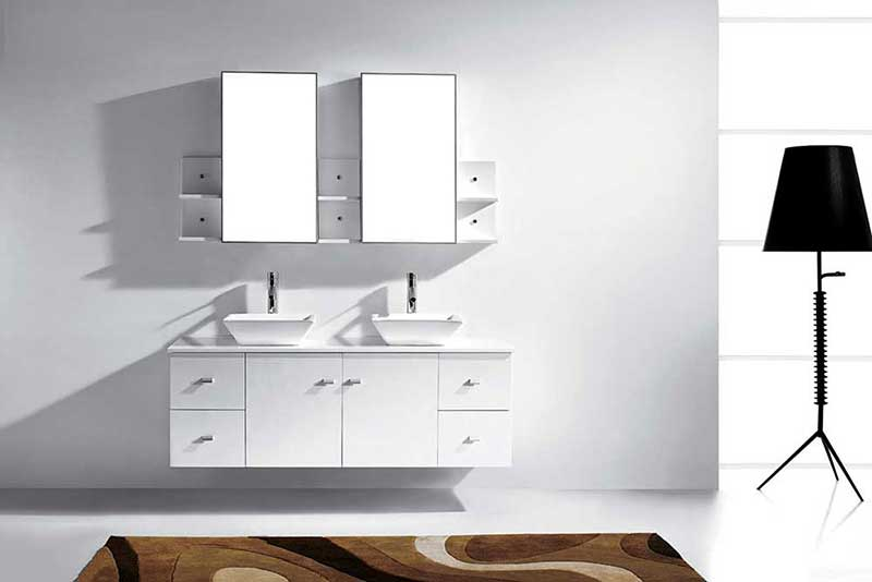 "Virtu USA Clarissa 61"" Double Bathroom Vanity Cabinet Set in White"