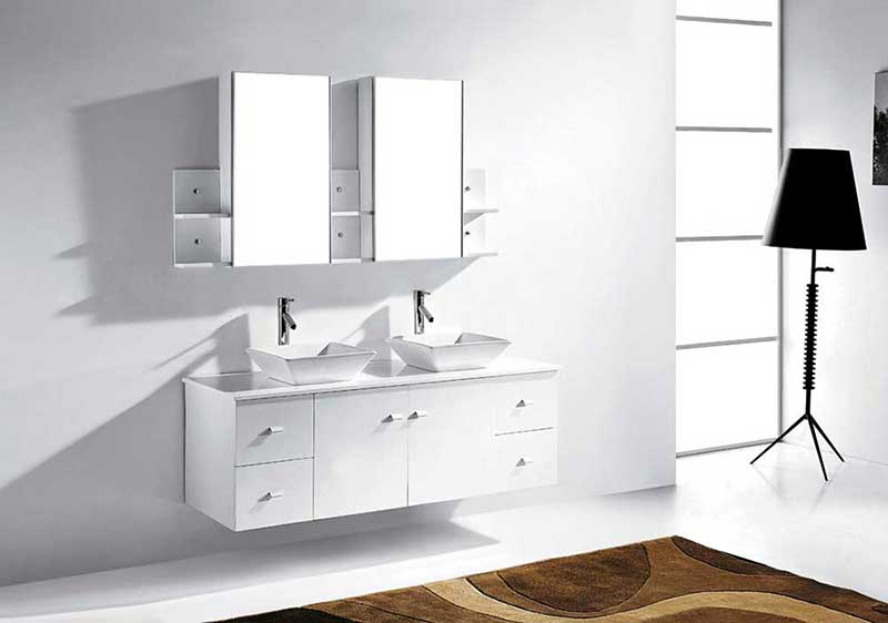 "Virtu USA Clarissa 61"" Double Bathroom Vanity Cabinet Set in White 2"