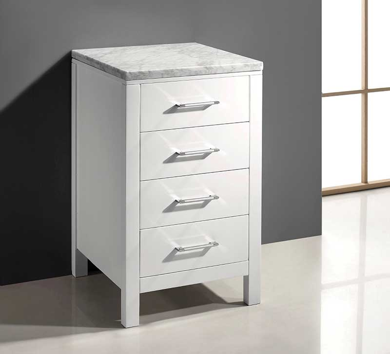 Virtu USA Caroline Parkway 20 Transitional Side Cabinet in White