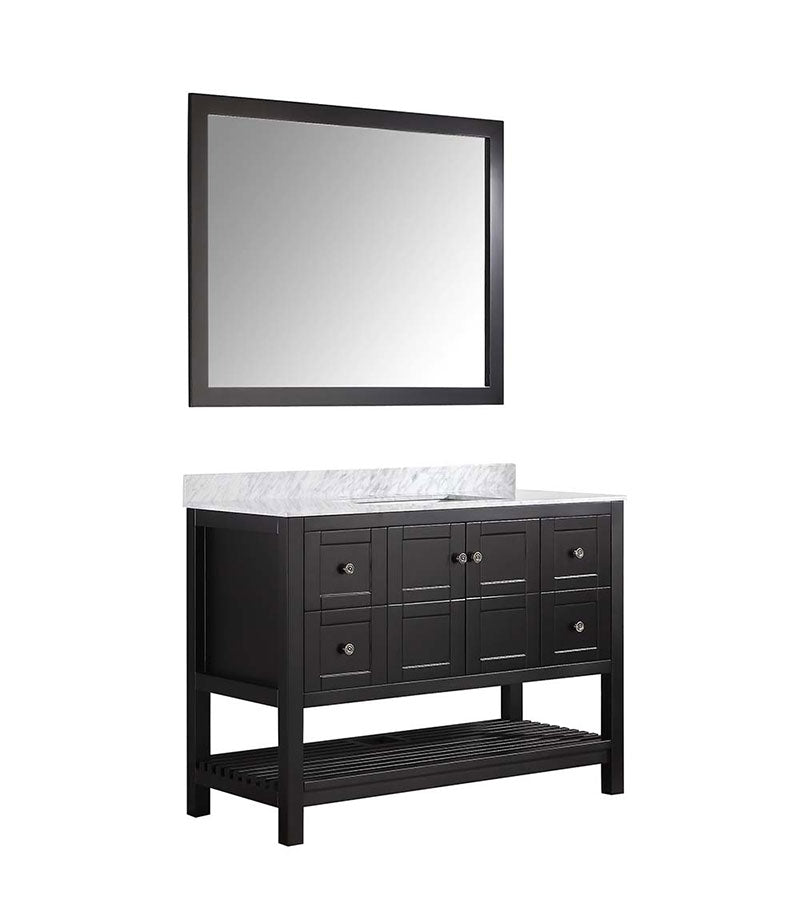 Anzzi Montaigne 48 in. W x 22 in. D Vanity in Espresso with Marble Vanity Top in Carrara White with White Basin and Mirror 11
