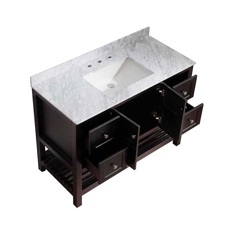 Anzzi Montaigne 48 in. W x 22 in. D Vanity in Espresso with Marble Vanity Top in Carrara White with White Basin and Mirror 13