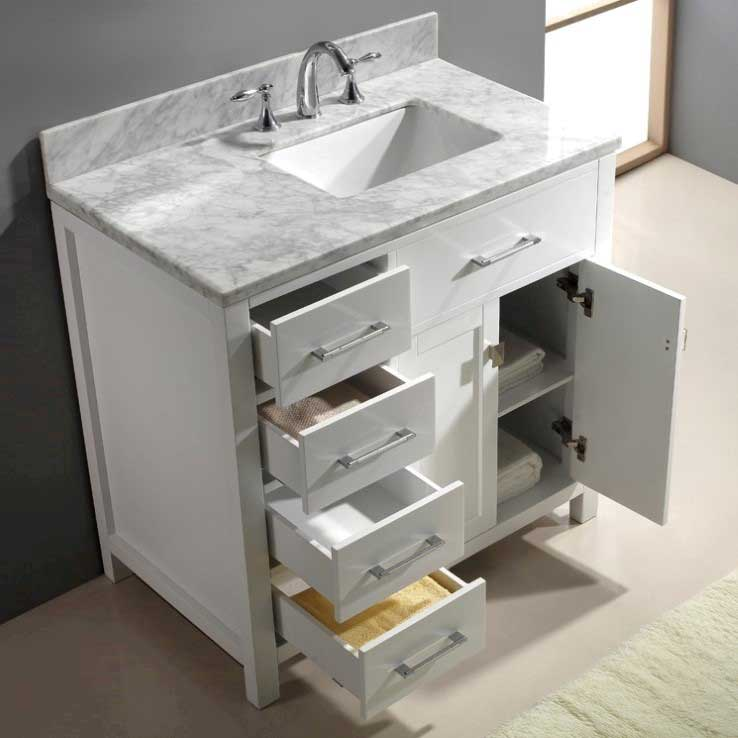 Virtu USA Caroline Parkway 36 Single Bathroom Vanity Set in White 4