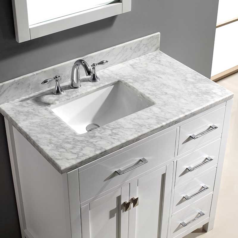 Virtu USA Caroline Parkway 36 Single Bathroom Vanity Set in White 3