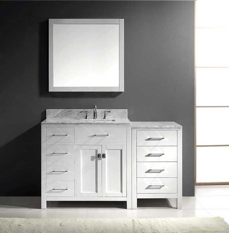"Virtu USA Caroline Parkway 57"" Single Bathroom Vanity Cabinet Set in White 2"