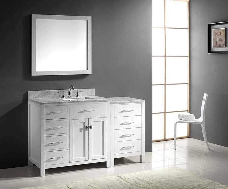 "Virtu USA Caroline Parkway 57"" Single Bathroom Vanity Cabinet Set in White 3"