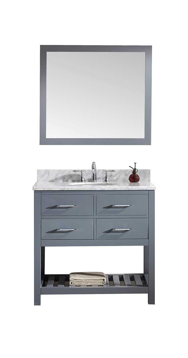 Virtu USA Caroline Estate 36 Single Bathroom Vanity Set in Grey