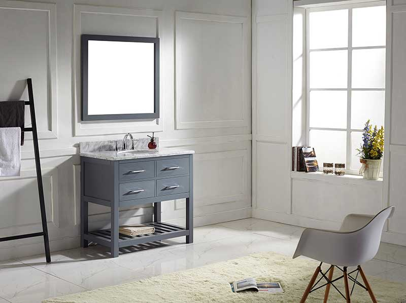 Virtu USA Caroline Estate 36 Single Bathroom Vanity Set in Grey 2